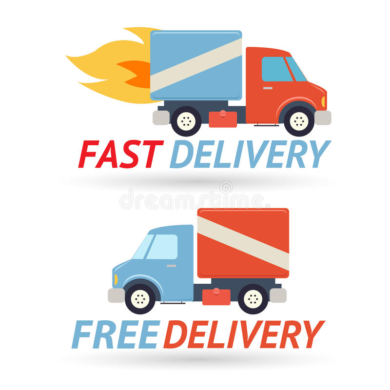Γρήγορο ελεύθερο παράδοσης εικονίδιο φορτηγών συμβόλων στέλνοντας διανυσματική απεικόνιση