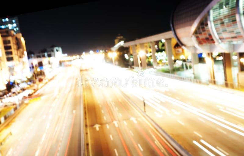 Γρήγορο υπόβαθρο ταξιδιού νύχτας - σύγχρονη εθνική οδός στοκ φωτογραφία με δικαίωμα ελεύθερης χρήσης