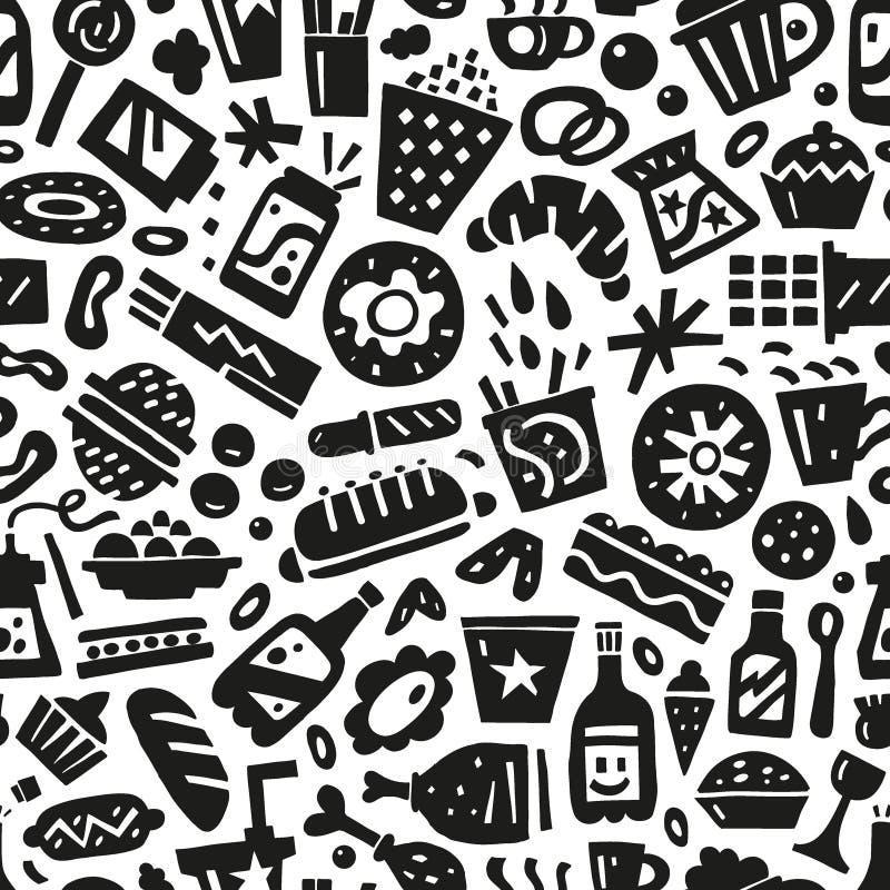 Γρήγορο φαγητό - άνευ ραφής υπόβαθρο απεικόνιση αποθεμάτων
