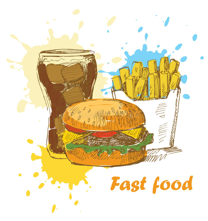 γρήγορο φαγητό ανασκόπησης απεικόνιση αποθεμάτων
