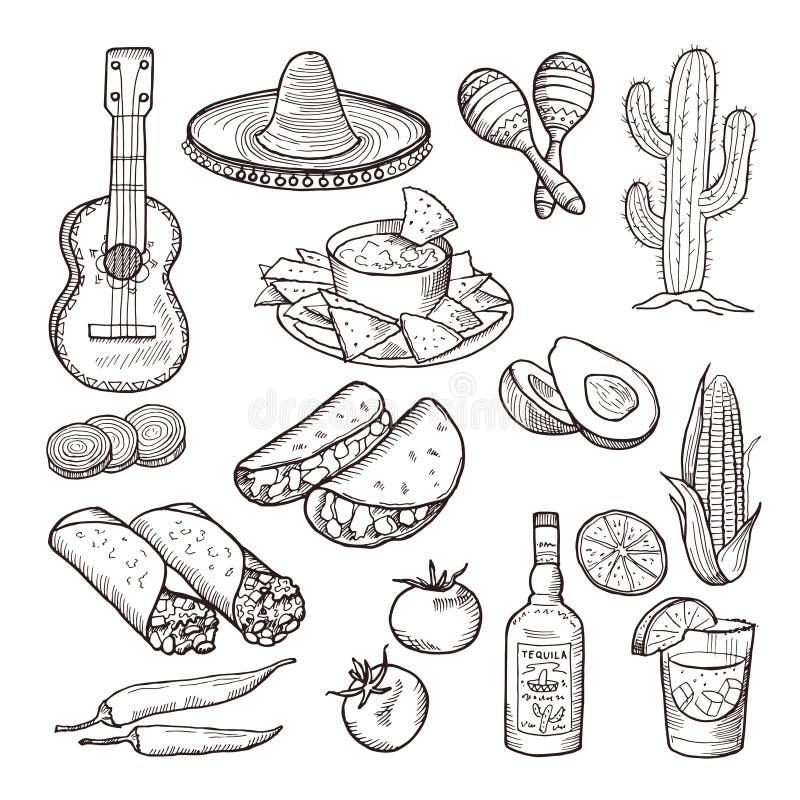 Γρήγορο φαγητό και άλλα μεξικάνικα στοιχεία πολιτισμού Σομπρέρο, κιθάρα, tequila και tacos Διανυσματικό συρμένο χέρι σύνολο ελεύθερη απεικόνιση δικαιώματος