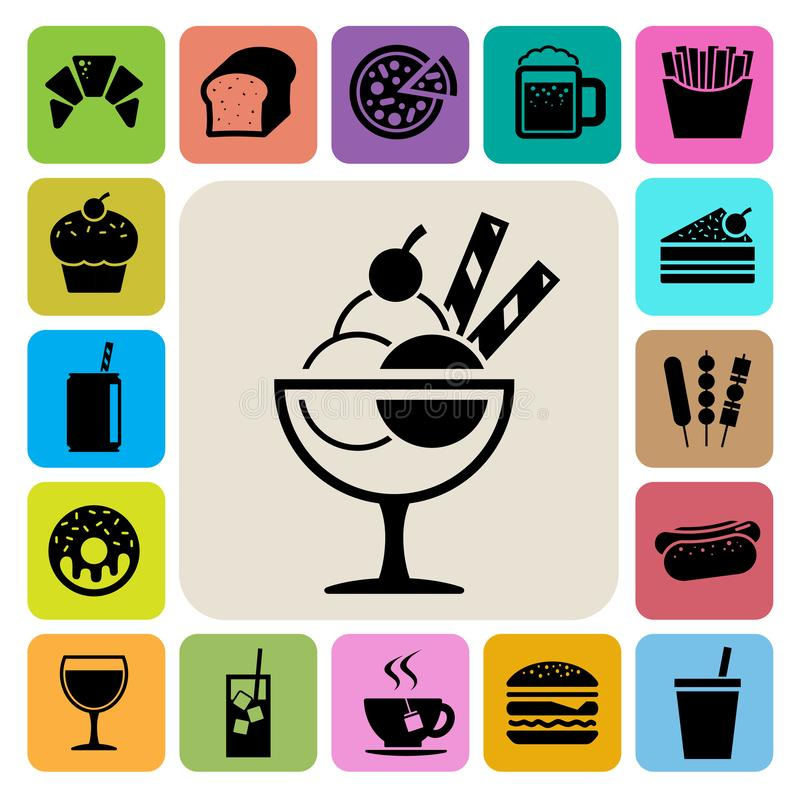 Γρήγορο φαγητό και σύνολο εικονιδίων επιδορπίων ελεύθερη απεικόνιση δικαιώματος