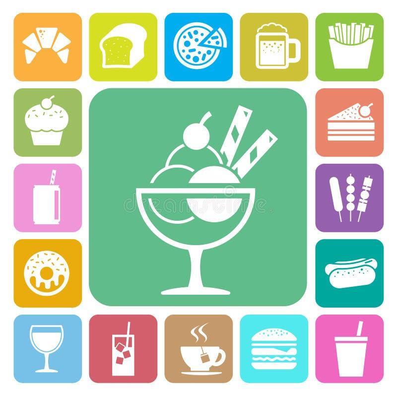 Γρήγορο φαγητό και σύνολο εικονιδίων επιδορπίων διανυσματική απεικόνιση