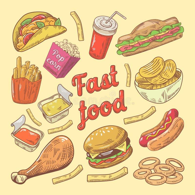 Γρήγορο φαγητό συρμένο χέρι Doodle με Burger και τα τηγανητά απεικόνιση αποθεμάτων