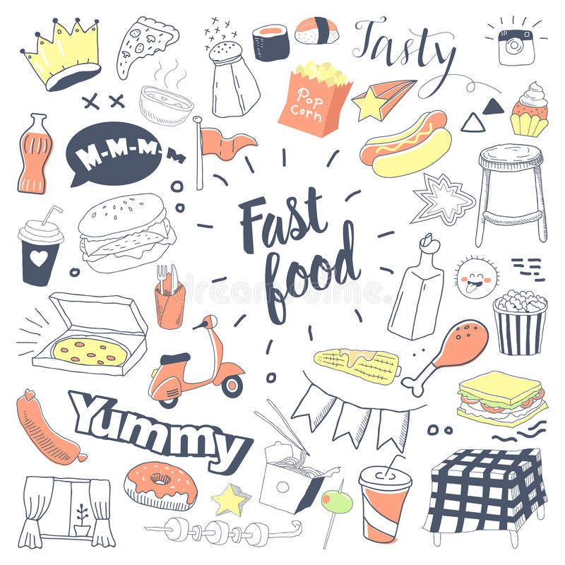 Γρήγορο φαγητό συρμένο χέρι Doodle με Burger, τα πρόχειρα φαγητά και τα ποτά Ανθυγειινά ελεύθερα στοιχεία τροφίμων καθορισμένα ελεύθερη απεικόνιση δικαιώματος