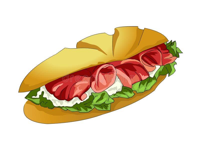 Γρήγορο φαγητό Το σάντουιτς γίνεται σε δύο μισά του άσπρου ψωμιού απεικόνιση αποθεμάτων