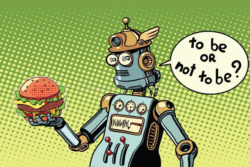 Γρήγορο φαγητό χάμπουργκερ ρομπότ απεικόνιση αποθεμάτων