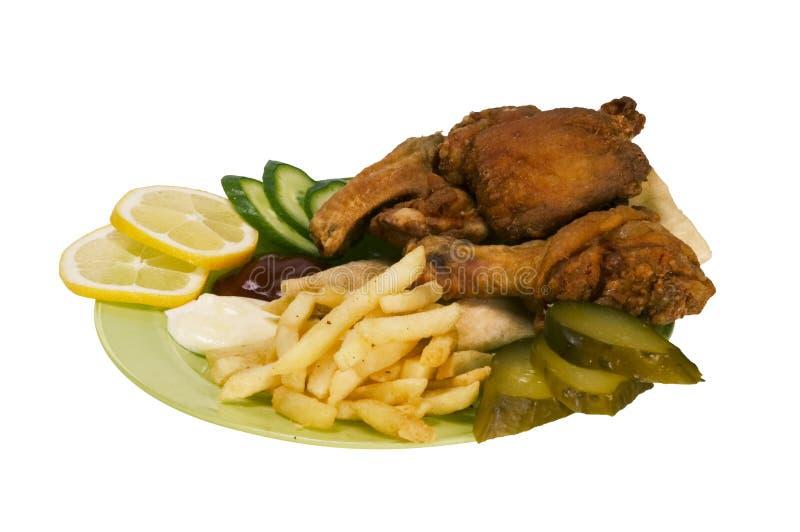 Γρήγορο φαγητό Chiken που απομονώνεται Στοκ Εικόνες
