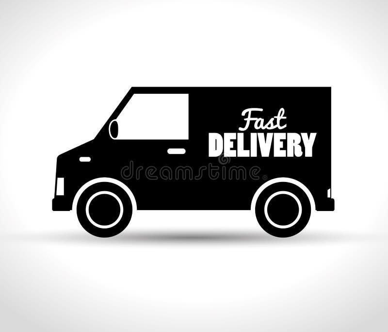γρήγορο φορτηγό παράδοσης που μεταφέρει το σχέδιο διανυσματική απεικόνιση