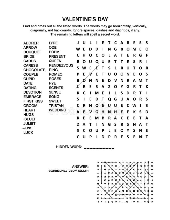 Γρίφος αναζήτησης λέξης ημέρας βαλεντίνων ` s απεικόνιση αποθεμάτων