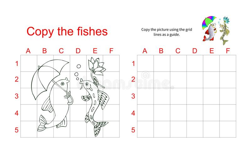 Γρίφος αντιγράφων πλέγματος - η εικόνα δύο ψαριών ομιλίας ελεύθερη απεικόνιση δικαιώματος
