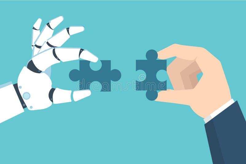 Γρίφος εκμετάλλευσης χεριών ρομπότ και επιχειρηματιών Συνεργασία με μια έννοια ρομπότ επίσης corel σύρετε το διάνυσμα απεικόνισης διανυσματική απεικόνιση