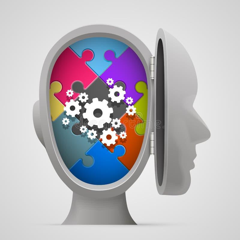 Γρίφος και εργαλεία στο ανοικτό κεφάλι διανυσματική απεικόνιση