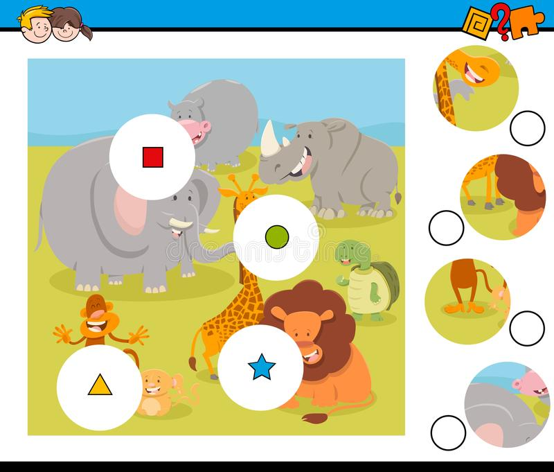 Γρίφος κομματιών αντιστοιχιών με τα ζώα σαφάρι απεικόνιση αποθεμάτων