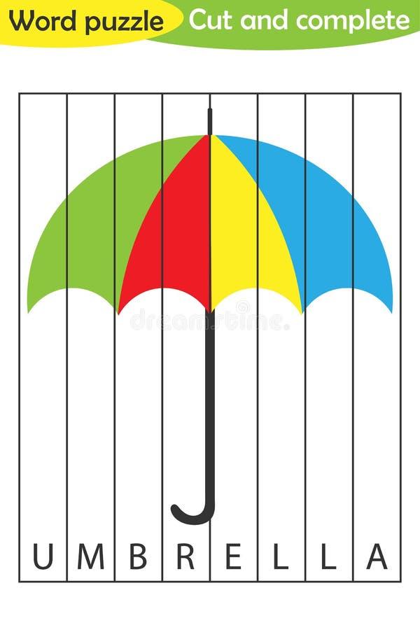 Γρίφος λέξης, ομπρέλα στο ύφος κινούμενων σχεδίων, παιχνίδι εκπαίδευσης για την ανάπτυξη των προσχολικών παιδιών, ψαλίδι χρήσης,  απεικόνιση αποθεμάτων