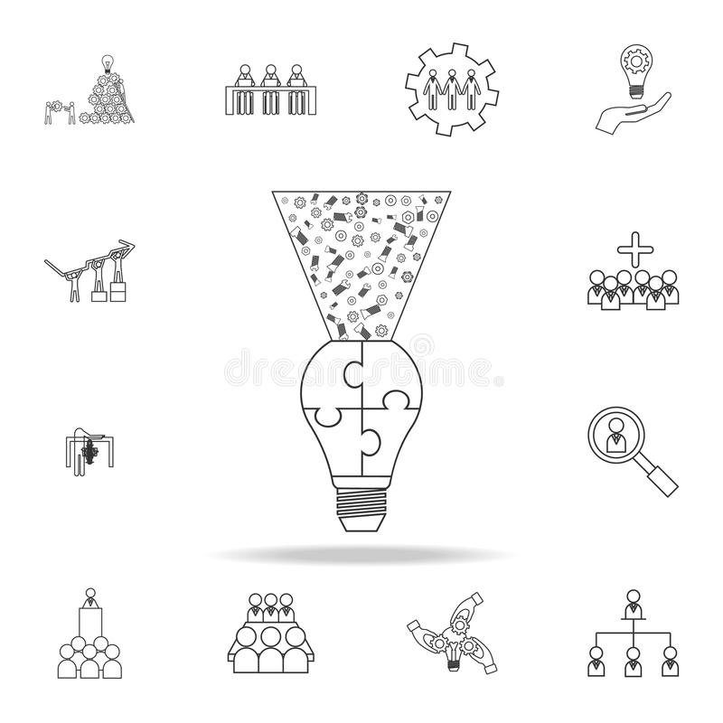 γρίφος λαμπών φωτός, εικονίδιο λογότυπων ιδέας ligh Λεπτομερές σύνολο εικονιδίων περιλήψεων εργασίας ομάδων Γραφικό εικονίδιο σχε διανυσματική απεικόνιση