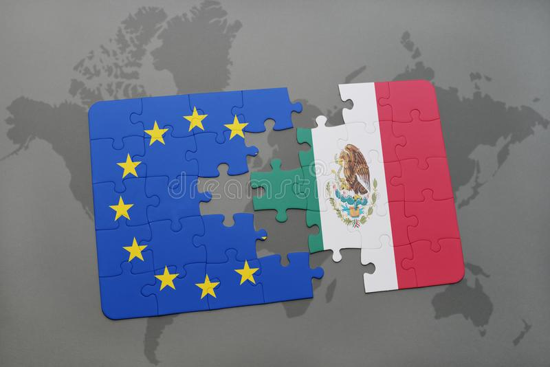 Γρίφος με τη εθνική σημαία της ευρωπαϊκής ένωσης του Μεξικού και σε έναν παγκόσμιο χάρτη διανυσματική απεικόνιση