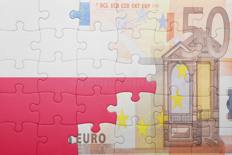 Γρίφος με τη εθνική σημαία της Πολωνίας και του ευρο- τραπεζογραμματίου στοκ φωτογραφία με δικαίωμα ελεύθερης χρήσης
