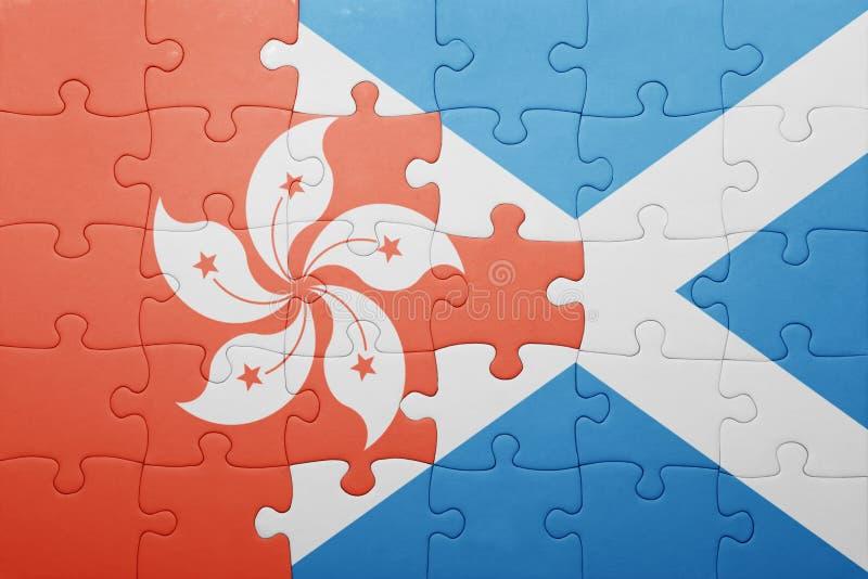 γρίφος με τη εθνική σημαία του Χογκ Κογκ και της Σκωτίας στοκ εικόνες
