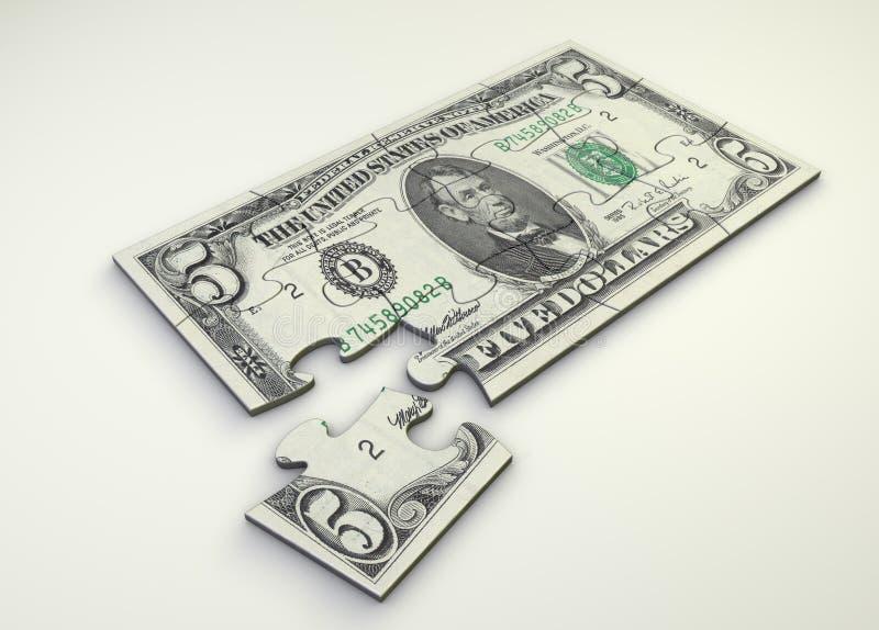 γρίφος σημειώσεων 5 δολαρίων απεικόνιση αποθεμάτων