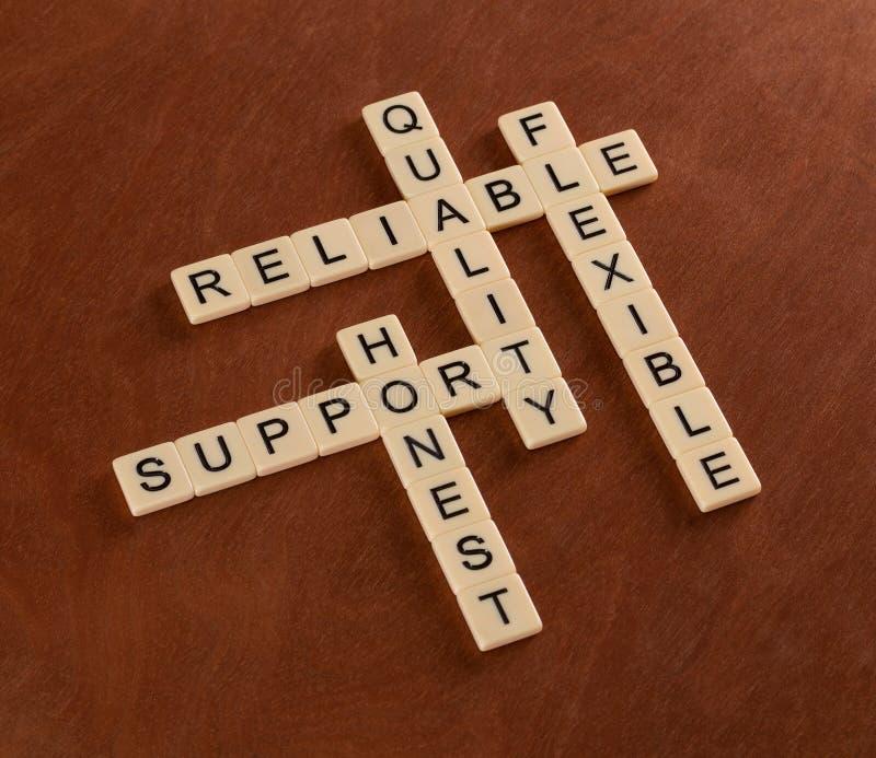 Γρίφος σταυρόλεξων με την υποστήριξη λέξεων, ποιότητα, εύκαμπτος, αξιόπιστη στοκ φωτογραφίες