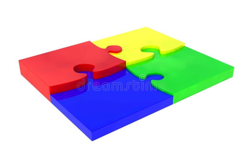 γρίφος τεσσάρων κομματιών τορνευτικών πριονιών διανυσματική απεικόνιση