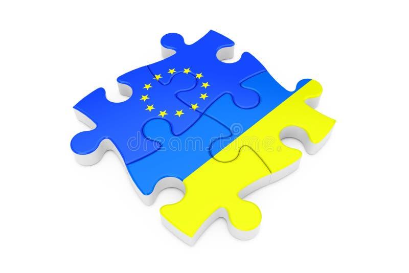 Γρίφος της Ευρωπαϊκής Ένωσης και συνεργασίας της Ουκρανίας ως σημαίες τρισδιάστατη απόδοση διανυσματική απεικόνιση