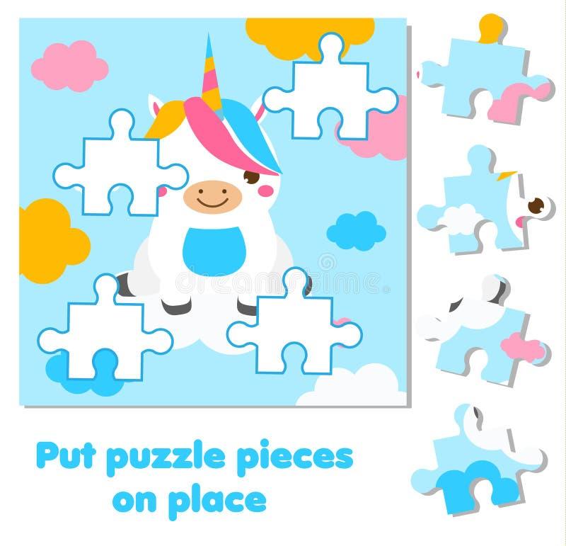 Γρίφος τορνευτικών πριονιών για τα μικρά παιδιά Κομμάτια αντιστοιχιών και πλήρης εικόνα χαριτωμένος μονόκερος Εκπαιδευτικό παιχνί διανυσματική απεικόνιση