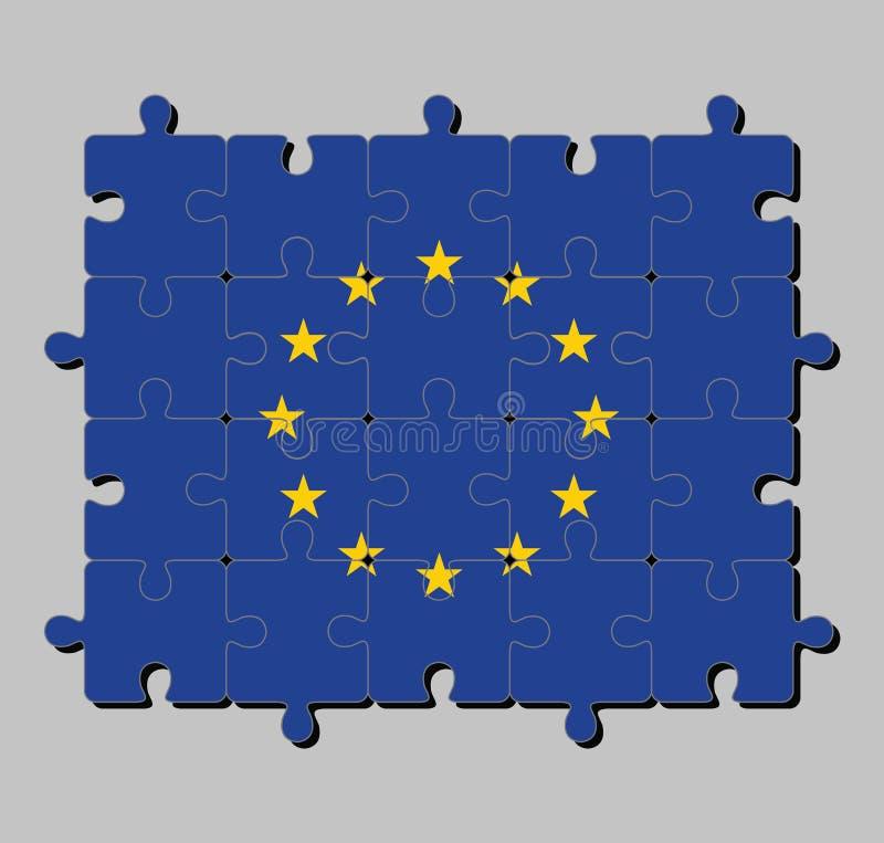 Γρίφος τορνευτικών πριονιών της σημαίας της Ευρωπαϊκής Ένωσης σε έναν κύκλο δώδεκα πέντε-δειγμένων κίτρινων αστεριών σε έναν μπλε διανυσματική απεικόνιση