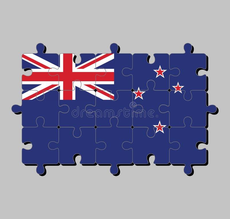 Γρίφος τορνευτικών πριονιών της σημαίας της Νέας Ζηλανδίας μπλε Ensign με το νότιο σταυρό τεσσάρων αστεριών διανυσματική απεικόνιση