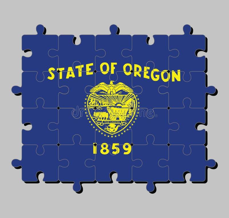 Γρίφος τορνευτικών πριονιών της σημαίας του Όρεγκον στο κόστος του βραχίονα στο χρυσό χρώμα στον μπλε τομέα ελεύθερη απεικόνιση δικαιώματος