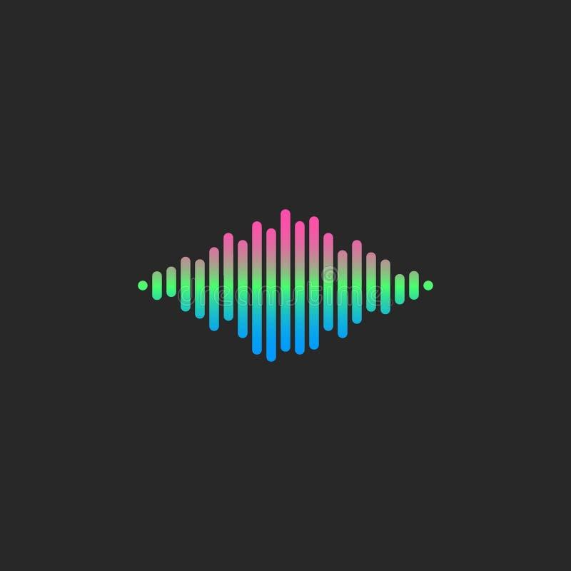 Γραμμές εξισωτών κλίσης λογότυπων του DJ υγιών κυμάτων, ακουστικό εικονίδιο ρυθμού φωνής απεικόνιση αποθεμάτων