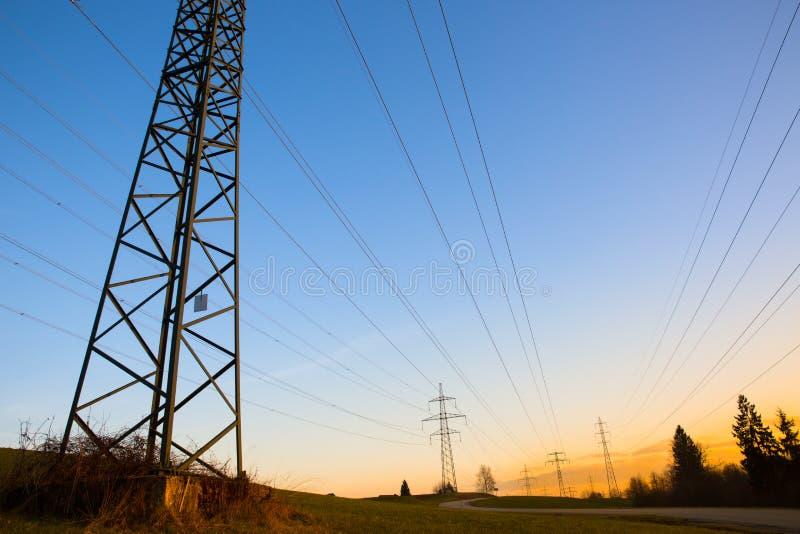 Γραμμές ηλεκτρικής δύναμης στοκ φωτογραφία