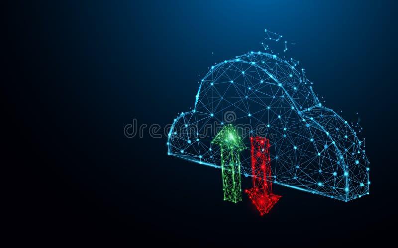 Γραμμές μορφής εικονιδίων αποθήκευσης στοιχείων σύννεφων, τρίγωνα και σχέδιο ύφους μορίων διανυσματική απεικόνιση
