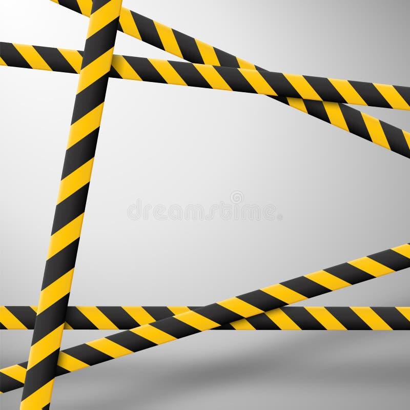 Γραμμές προσοχής που απομονώνονται Ταινίες προειδοποίησης Σημάδια κινδύνου επίσης corel σύρετε το διάνυσμα απεικόνισης απεικόνιση αποθεμάτων