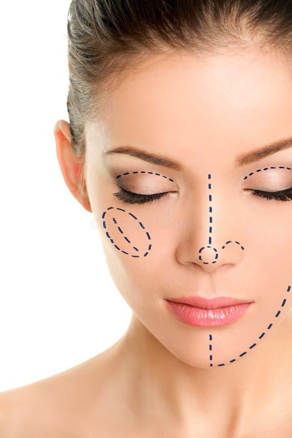 Γραμμές πλαστικής χειρουργικής στο ασιατικό πρόσωπο γυναικών στοκ εικόνα με δικαίωμα ελεύθερης χρήσης