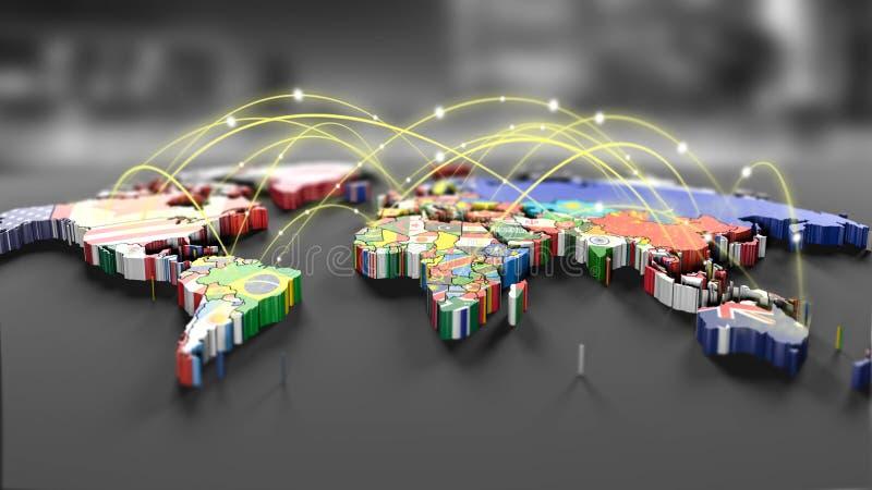 Γραμμές σύνδεσης γύρω από το χάρτη με όλες τις σημαίες χωρών διανυσματική απεικόνιση