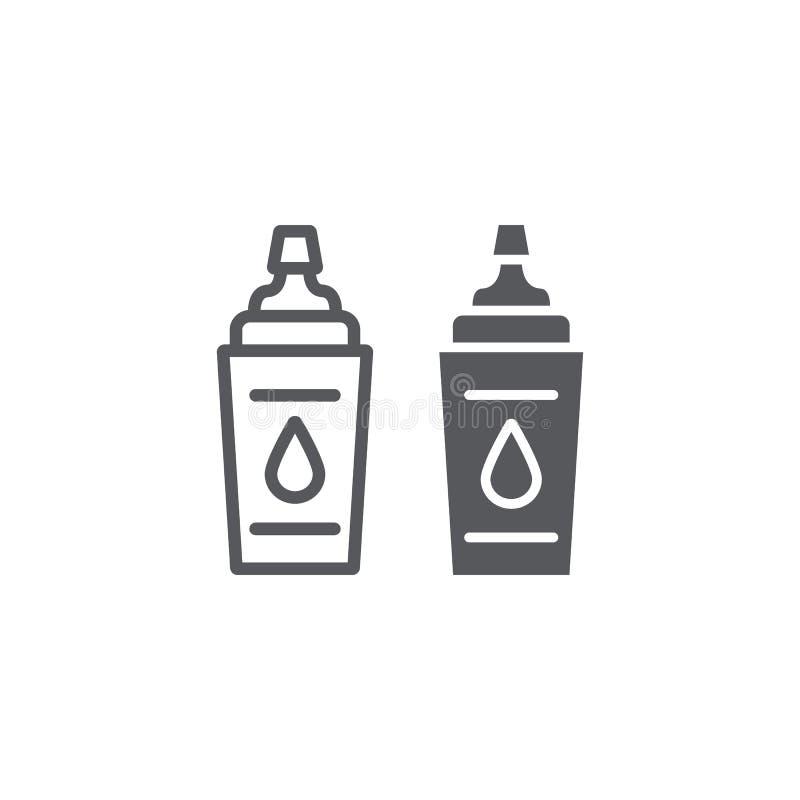 Γραμμή αθλητικών μπουκαλιών και glyph εικονίδιο, ικανότητα και ποτό, σημάδι μπουκαλιών νερό, διανυσματική γραφική παράσταση, ένα  απεικόνιση αποθεμάτων