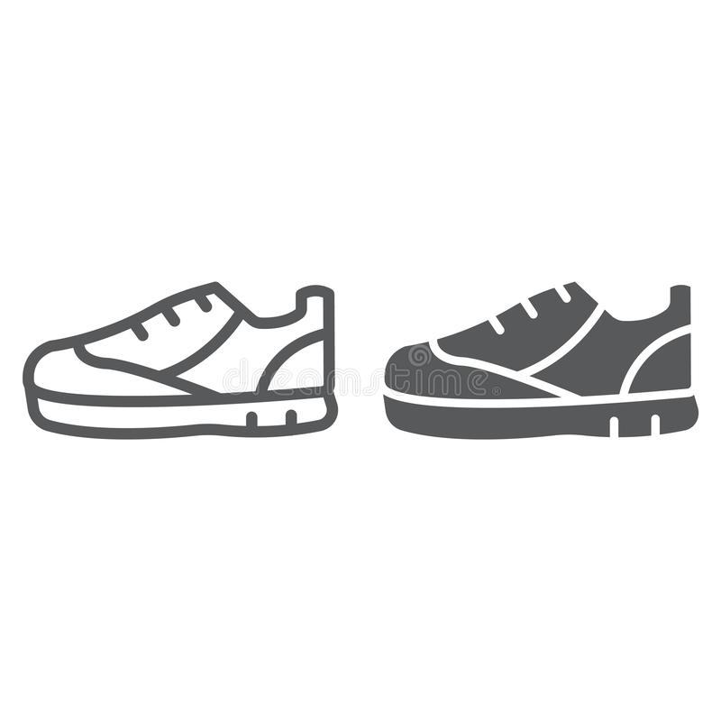 Γραμμή αθλητικών παπουτσιών και glyph εικονίδιο, υποδήματα και παπούτσι, σημάδι πάνινων παπουτσιών, διανυσματική γραφική παράστασ διανυσματική απεικόνιση