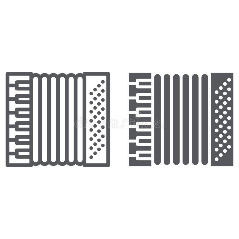 Γραμμή ακκορντέον και glyph εικονίδιο, μουσική και όργανο, σημάδι φυσαρμόνικων, διανυσματική γραφική παράσταση, ένα γραμμικό σχέδ απεικόνιση αποθεμάτων