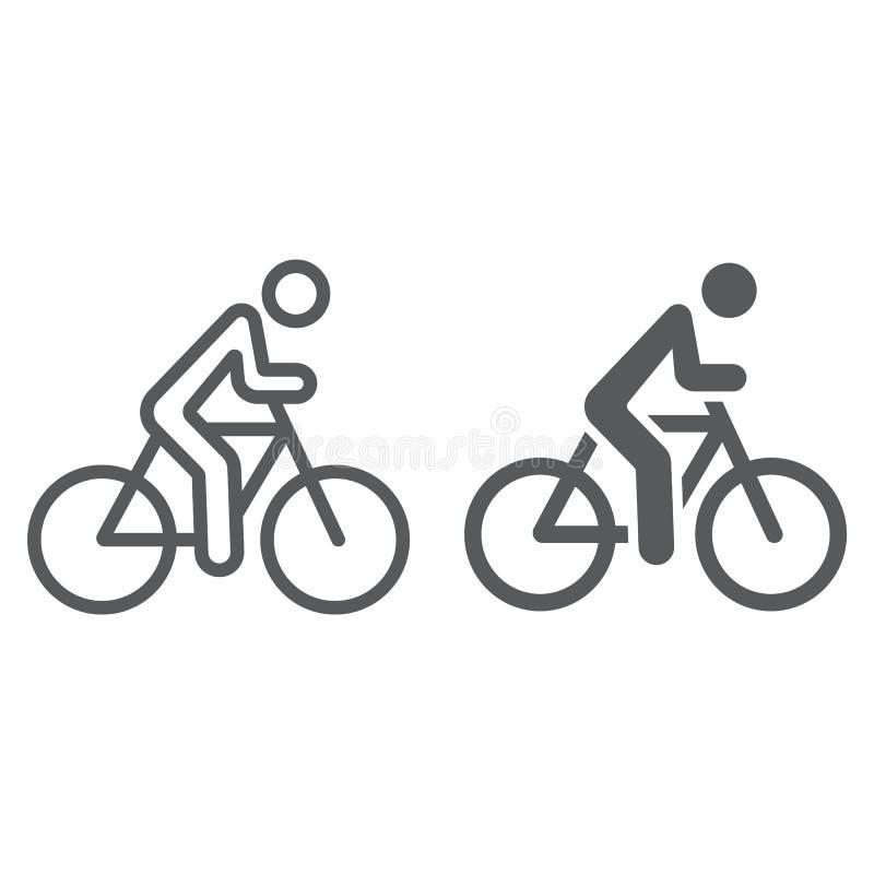 Γραμμή ανακύκλωσης και glyph εικονίδιο, αθλητισμός και ποδήλατο, άτομο στο σημάδι ποδηλάτων, διανυσματική γραφική παράσταση, ένα  απεικόνιση αποθεμάτων