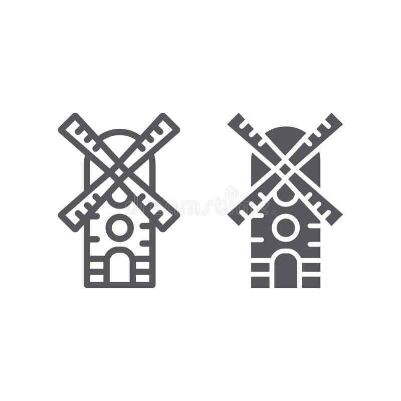 Γραμμή ανεμόμυλων και glyph εικονίδιο, αγρόκτημα και αέρας, σημάδι μύλων, διανυσματική γραφική παράσταση, ένα γραμμικό σχέδιο σε  διανυσματική απεικόνιση