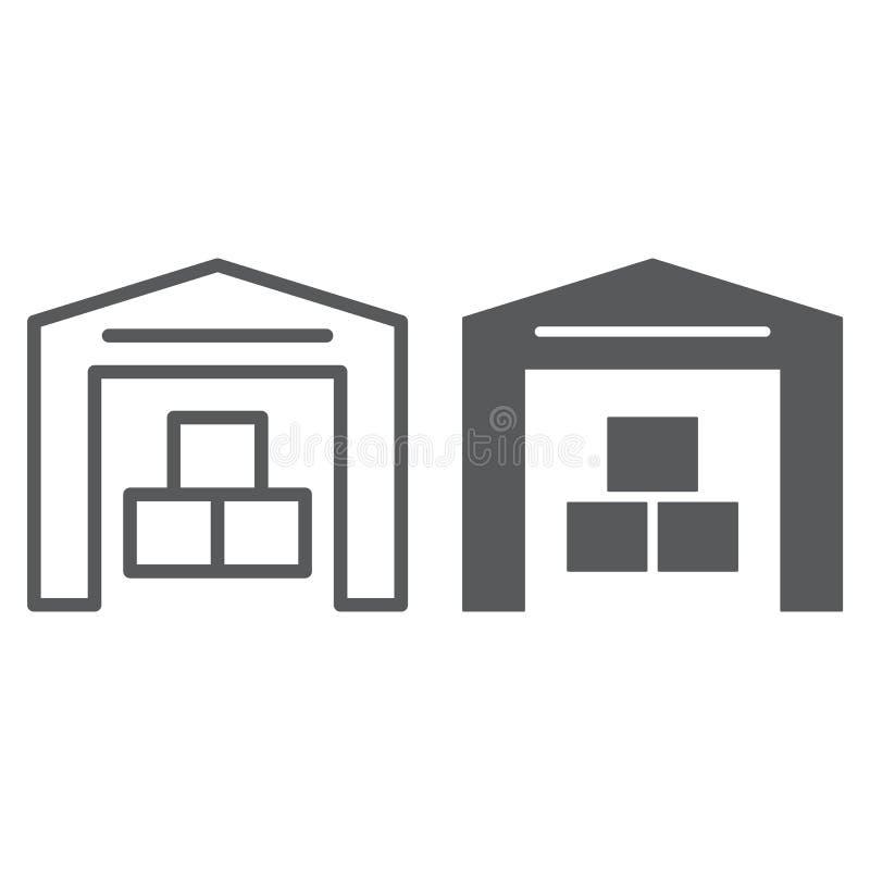 Γραμμή αποθηκών εμπορευμάτων και glyph εικονίδιο, κτήριο και κατάστημα, σημάδι αποθήκευσης, διανυσματική γραφική παράσταση, ένα γ απεικόνιση αποθεμάτων