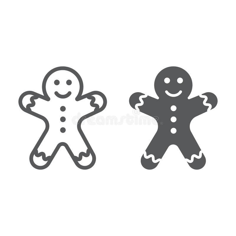 Γραμμή ατόμων μελοψωμάτων και glyph εικονίδιο, Χριστούγεννα ελεύθερη απεικόνιση δικαιώματος