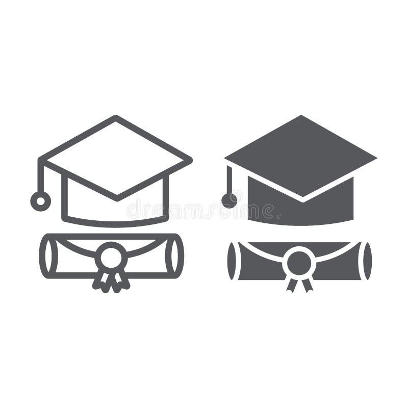 Γραμμή βαθμολόγησης ΚΑΠ και glyph εικονίδιο, πτυχιούχος και γνώση, ακαδημαϊκό σημάδι καπέλων, διανυσματική γραφική παράσταση, ένα απεικόνιση αποθεμάτων