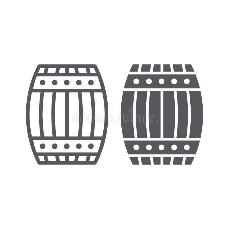 Γραμμή βαρελιών και glyph εικονίδιο, εμπορευματοκιβώτιο και αποθήκευση, ξύλινο σημάδι βυτίων, διανυσματική γραφική παράσταση, ένα διανυσματική απεικόνιση
