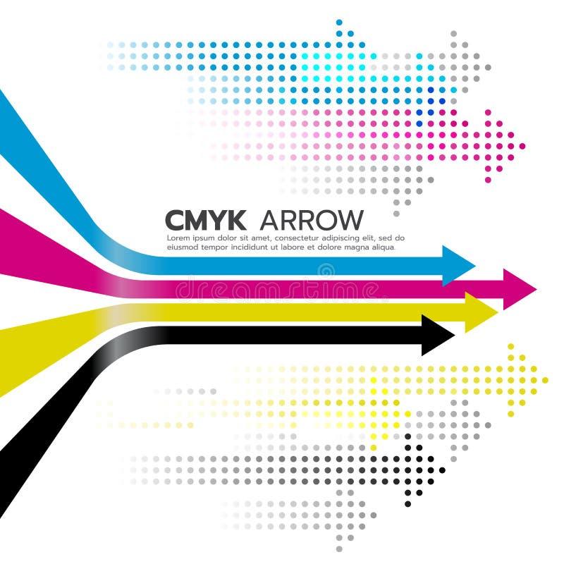 Γραμμή βελών CMYK (κυανή και ροδανιλίνης και κίτρινη και βασική ή μαύρη) και διανυσματικό σχέδιο τέχνης βελών σημείων απεικόνιση αποθεμάτων