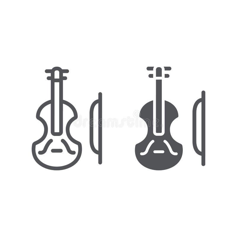Γραμμή βιολιών και glyph εικονίδιο, μουσική και όργανο, σημάδι βιολοντσέλων, διανυσματική γραφική παράσταση, ένα γραμμικό σχέδιο  απεικόνιση αποθεμάτων