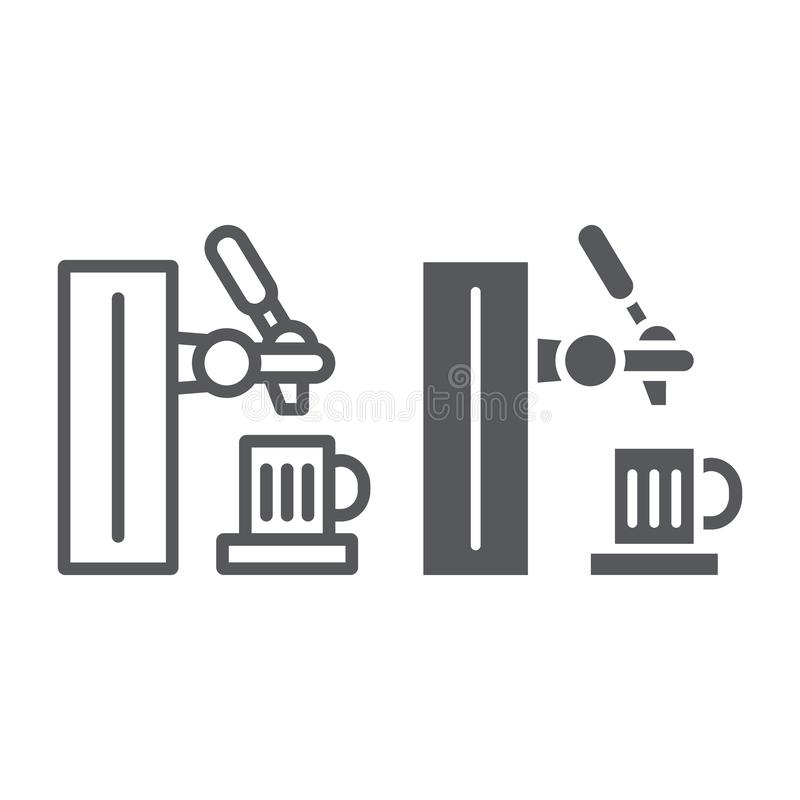 Γραμμή βρυσών μπύρας και glyph εικονίδιο, ποτό και ζυθοποιείο, σημάδι βρυσών φραγμών, διανυσματική γραφική παράσταση, ένα γραμμικ διανυσματική απεικόνιση