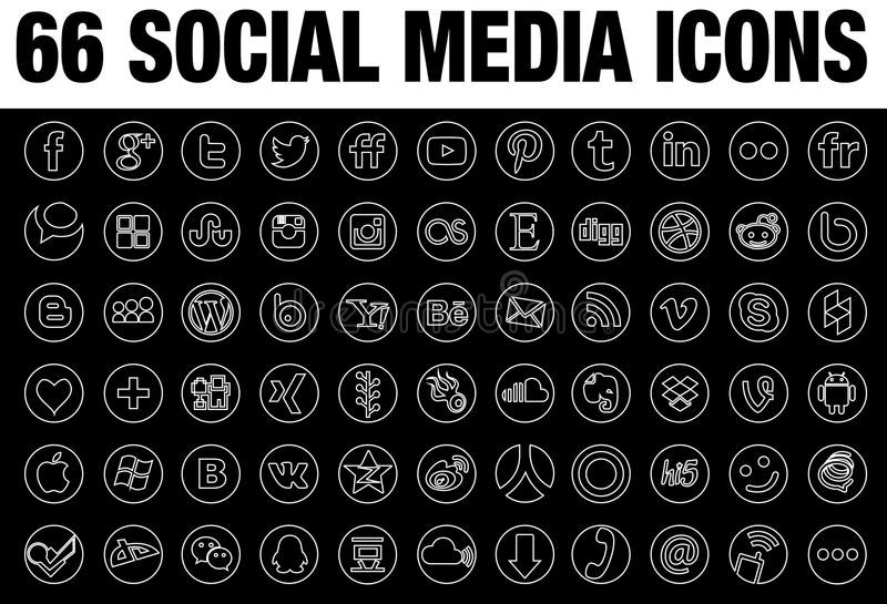 Γραμμή γύρω από τις κοινωνικές συλλογές εικονιδίων μέσων διανυσματική απεικόνιση